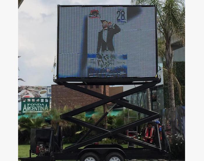 Elevador de tijera para anuncio publicitario